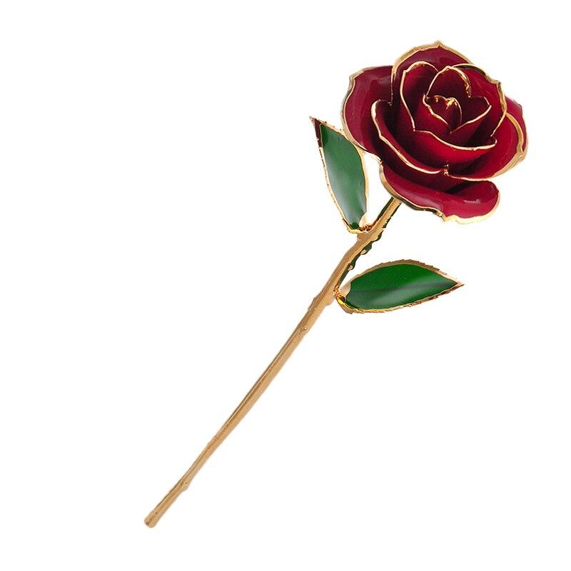 Love Forever Long Stem 24K Gold Foil Trim Rose Flower With Bracket for Valentine's Day & Mother's Day & Anniversary
