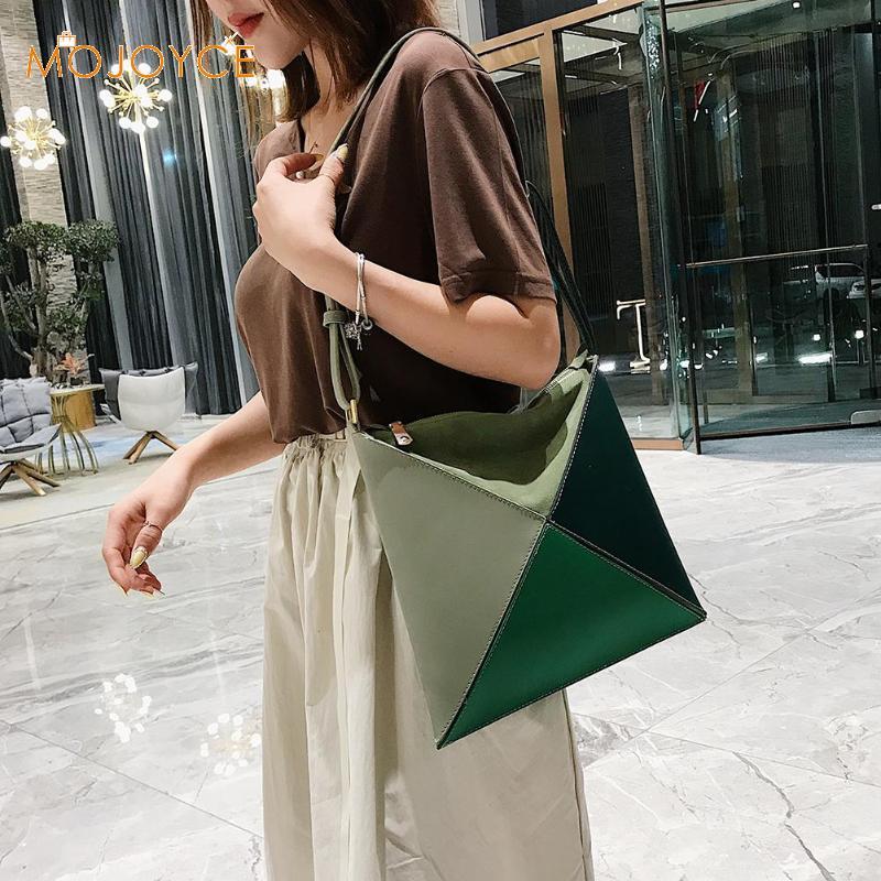 Hit Color Geometric Shoulder Handbags PU Leather Women Foldable Large Totes High Quality PU Leather Women Portable Shoulder Bag