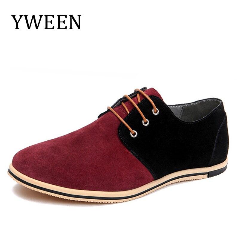 Yween повседневная обувь для Для мужчин большой Размеры 50 EUR Кружево-Up Стиль Разноцветные Мода Оксфорд Платье без каблука Обувь