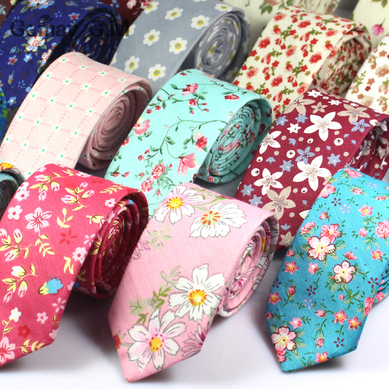 Fashion Floral Print Necktie For Men Cotton Slim Ties Wedding Party Flower Neckwear Skinny Ties Casual Narrow Cotton Neckties