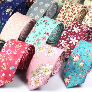 Modne kwiatowe nadruki krawat dla mężczyzn bawełniane wąskie krawaty kwiat na wesele krawat obcisłe krawaty Casual wąskie bawełniane krawaty tanie i dobre opinie LD161 WOMEN Moda COTTON Gemay G M Szyi krawat Jeden rozmiar Dla dorosłych Floral