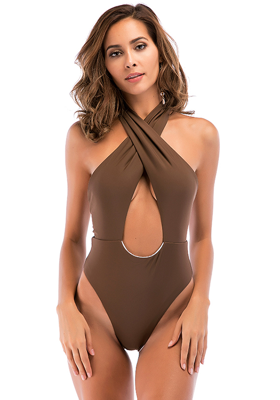 High Cut, Cross Halter, One Piece Monokini Swimsuit 10