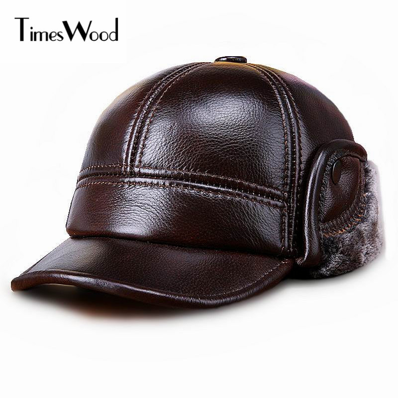 [TIMESWOOD] Genuine Real Cow Leather Caps Warm Mens Ear Protection Hat Fitted Casual Solid New Brown Russian Winter Baseball Cap brushed cotton twill ivy hat flat cap by decky brown
