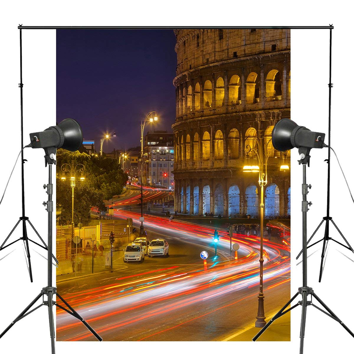150x220cm Italy Colosseum Photography Background Night Street View Backdrop Studio Props Wall