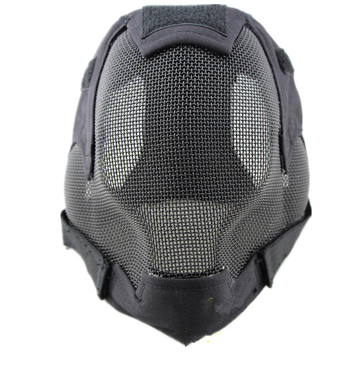 Duty Full Face Mask A Grade Steel Mesh Protective Mask Protective Mask Ear V6 Black