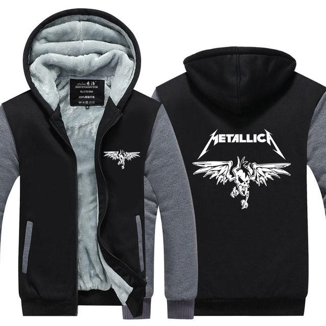 Clásico Metallica Heavy Metal Rock Hoodies de Los Hombres Para Los Hombres 2016 nueva Espesar Fleece Cremallera Casual Tops tamaño Plus EE. UU. UE tamaño