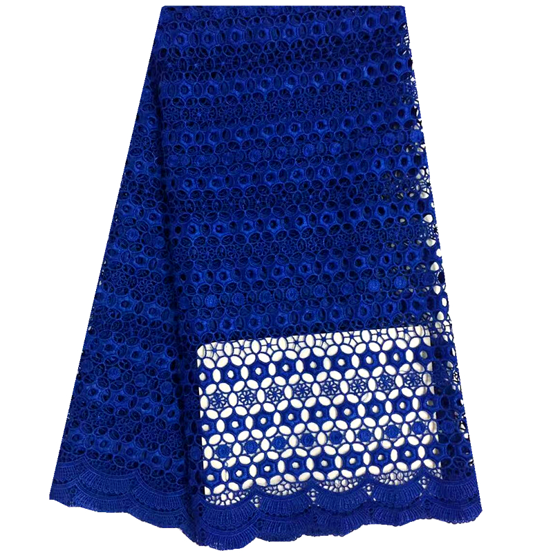 High quality Nigerian African French Lace Fabric Guipure Cord Lace Fabric For Wedding Party In Blue