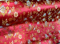 Telas woven damask traditional silk tissu fabric meters cheongsam kimono red botton golden flowers Embroidery textile fabrics