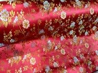Telas woven damask traditional silk tissu fabric meters cheongsam kimono red botton golden flowers Embroidery textile fabrics