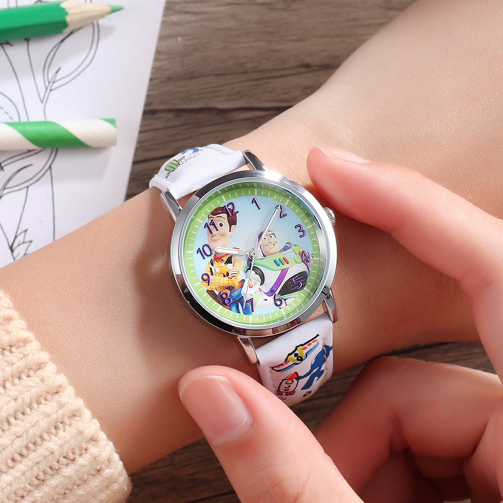 Cartoon Disney Brand Donald Duck Watches Children Boys Girls Wristwatches Quartz Genuine Leather Waterproof Child Clocks