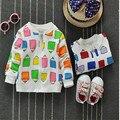 Otoño 2016 nuevo llegan los niños niñas de Corea Del algodón encantador de la manera impresión cuello redondo de manga larga chaqueta