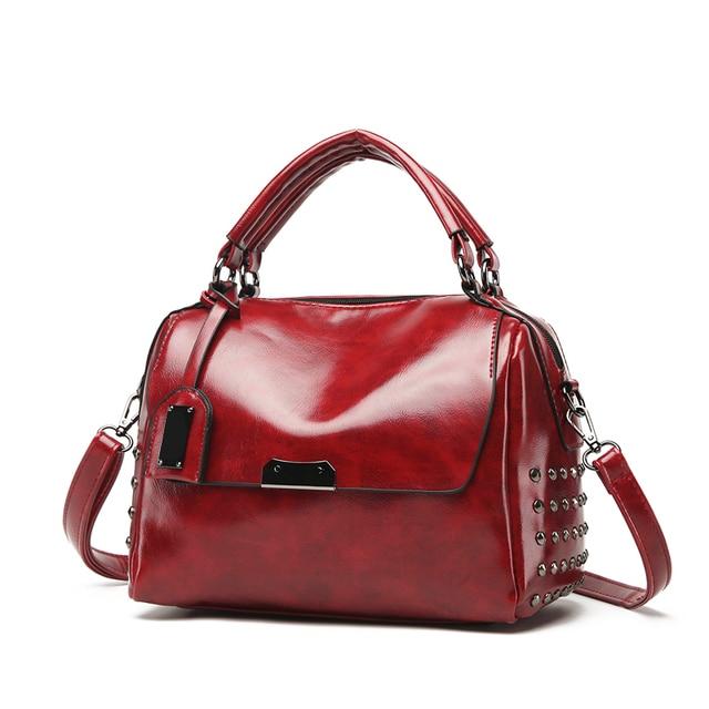2018 Limit Discount Women Leather Shoulder Bag Casual Totes Female Handbag  Vintage Briefcase Strap Top-Handle Zipper Rivet Bag 60212dd9dfc3