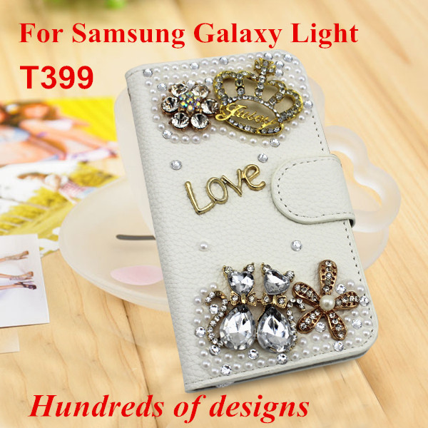 huge selection of 8e62e 2edb0 US $100.0 |Free DHL Luxury Wholesale Rhinestone Leather flip mobile phone  case cover For Samsung Galaxy Light T399/ For Samsung SGH T399 on ...
