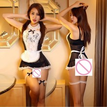 new women sexy lingerie hot lace French Maid hat+lingerie+t-pant+collar+hand accessories costume erotic Lingerie set