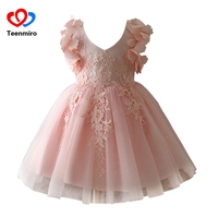 New Prom Party Princess Dresses For Girls Wedding Pink Lace Flower Tulle Tutu Dress Big Girl