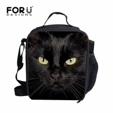 Tote Cooler Lunchbox Insulation-Bag Black 3D Cat Kid FORUDESIGNS with Zipper Outside