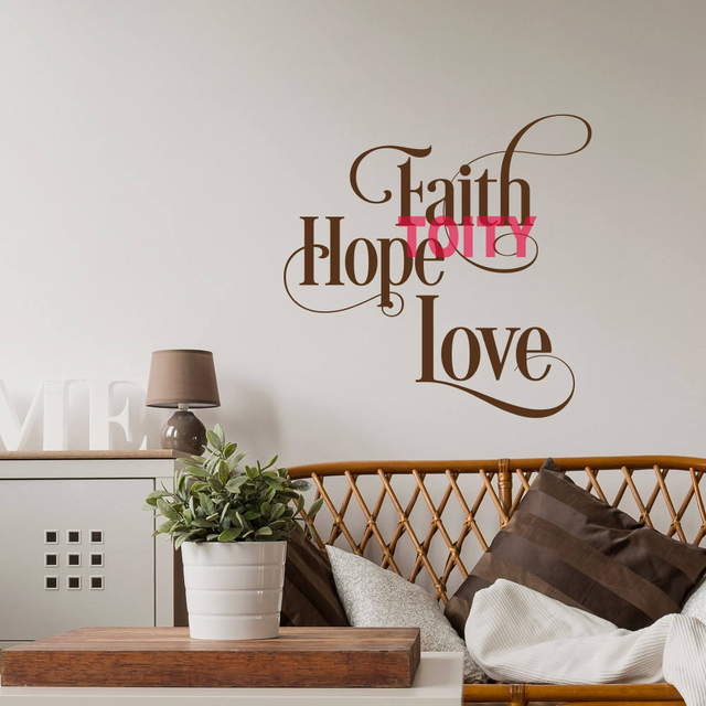 Faith Hope Love Inspirational Scripture Quote Art Vinyl Wall Decal Bible  Verse Wall Decor Home Removable