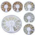 Oro plata Color del Metal del remache 3D decoraciones de uñas de Metal rueda 8 estilo remaches metálicos decoración del teléfono