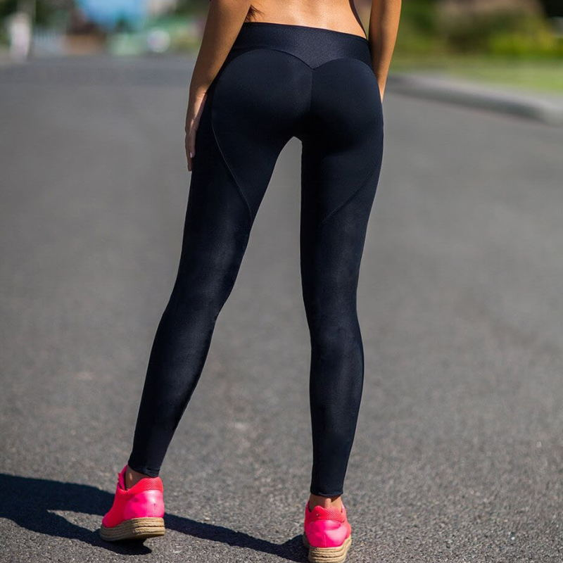 2018 Sexy Push Up Black Leggings Women Workout Mesh Patchwork Legging Femme Casual Peach Heart Shaped Leggings