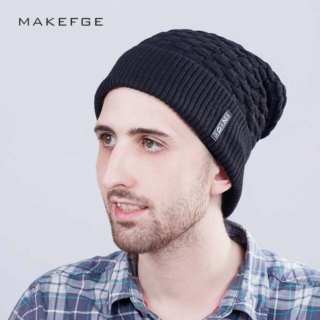 6946d6a1362 2017 Skullies Men s Beanies knitted Cap Winter Hat For Men Fashion Weave  Grid Labeling Add Velvet Warm Casual Wool Cap
