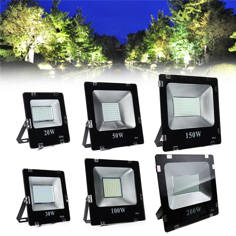 Mising 20W 30W 50W 100W 150W 200W 5630 LED Flood Light Landscape Outdoor Lamp IP66 White