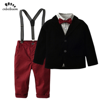 2018 new children boy formal suits coat + shirt + pant 3 pcs clothing sets kids 2 7 year Red wine trousers baby boys clothes set