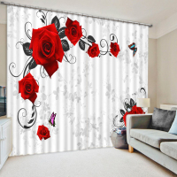 Photo Customize size European Style Top Quality 3d flower curtains 3D Window Curtains For Bedding room