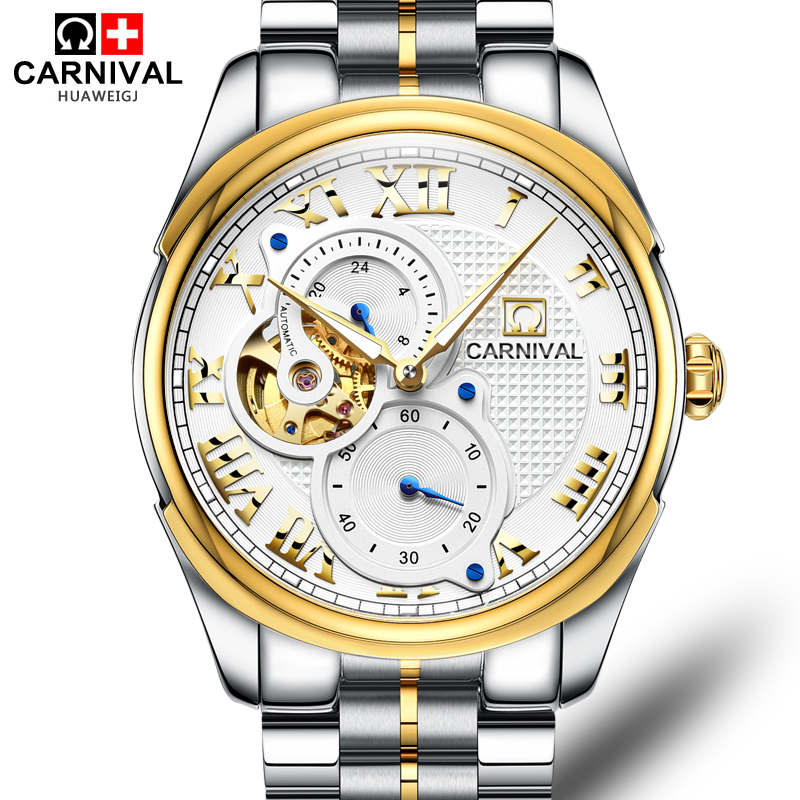 Carnival Watch Men skeleton Automatic Mechanical Luminous Gold Stainless Steel Waterproof White Watches tevise fashion auto date automatic self wind watches stainless steel luxury gold black watch men mechanical t629a with tool