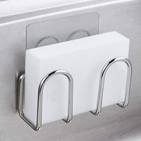 Suction Cup Sink Sponge Holder Metal Towel Scrubbers Soap Drying Shelves Rack Fiber Scouring Pad Drainer   Kitchen   Organizer