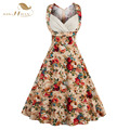 Plus Size S- 4XL Floral Print 50s Vintage Dress Rockabilly Retro Swing Pinup Women Summer Dress Party Club Casual Dresses VD0327