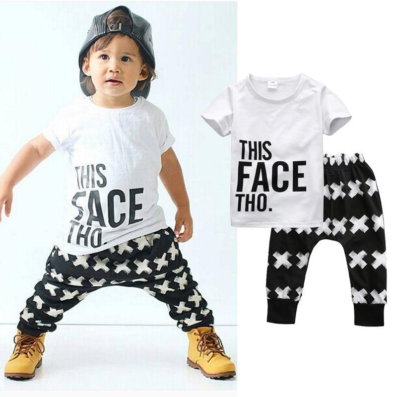 Tops + Harem Letter White Cotton Pants 2pcs Set Boys 0-5Y 2pcs Clothes Sets 2016 Summer Baby Boy Clothing Toddler Casual T-shirt
