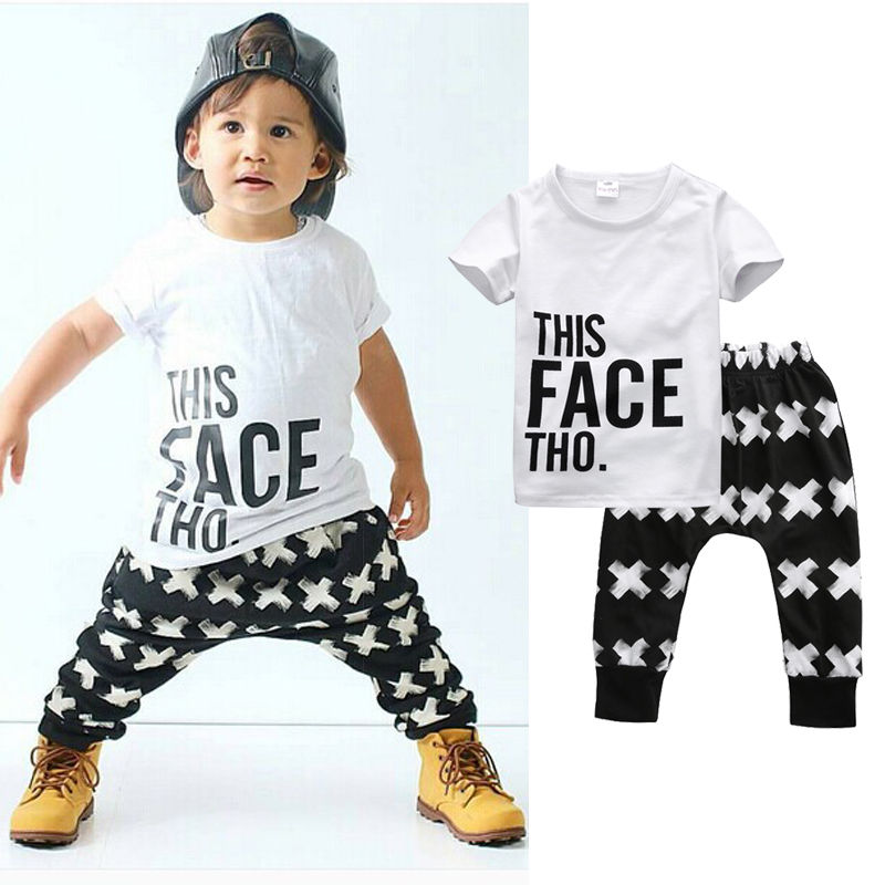 Tops + Harem Letter White Cotton Pants 2pcs Set Boys 0-5Y 2pcs Clothes Sets 2016 Summer Baby Boy Clothing Toddler Casual T-shirt 2017 2pcs set summer t shirt baby clothing sets style stripe kits fashion newborn infants girl clothes cotton overalls for boys