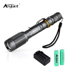 ANKLET Silver appearance LED XM L2 Flashlight Zoomable Torch 5 Mode Tactical with Battery Charger for Outdoor Camping