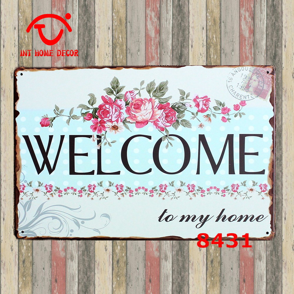 welcome to my home plaque home decoration party decor metal tin signs school gate saloon gallery. Black Bedroom Furniture Sets. Home Design Ideas