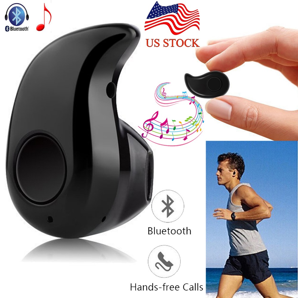 Black Wireless Bluetooth Headset Stealth in Ear Earphone Handsfree Mini Earbud For Samsung iPhone Motorola Huawei LG HTC US Ship image