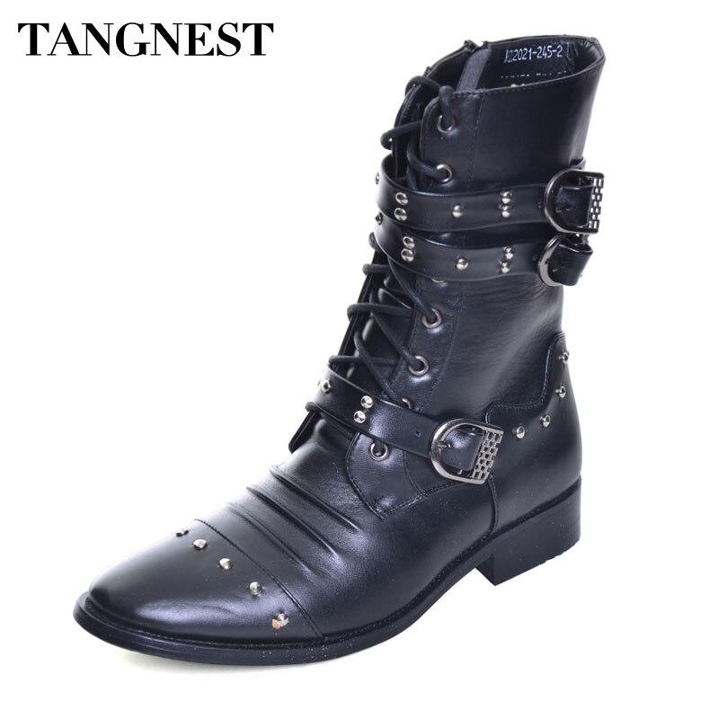 Tangnest/Для мужчин осень новые сапоги до середины икры Разделение кожаные байкерские ботинки с заклепками острый носок панковские ботинки туф...