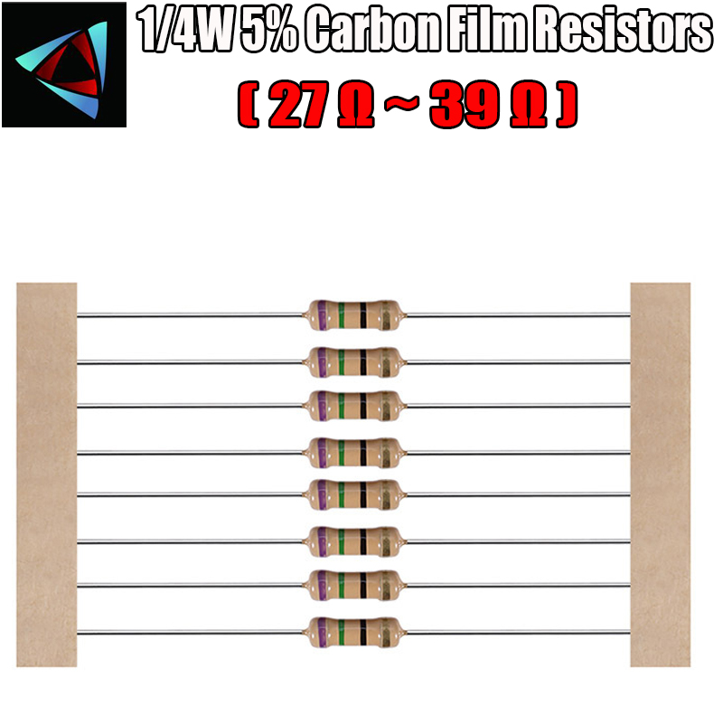 100pcs 1/4W 5% Carbon Film Resistor 27 30 33 36 39 Ohm