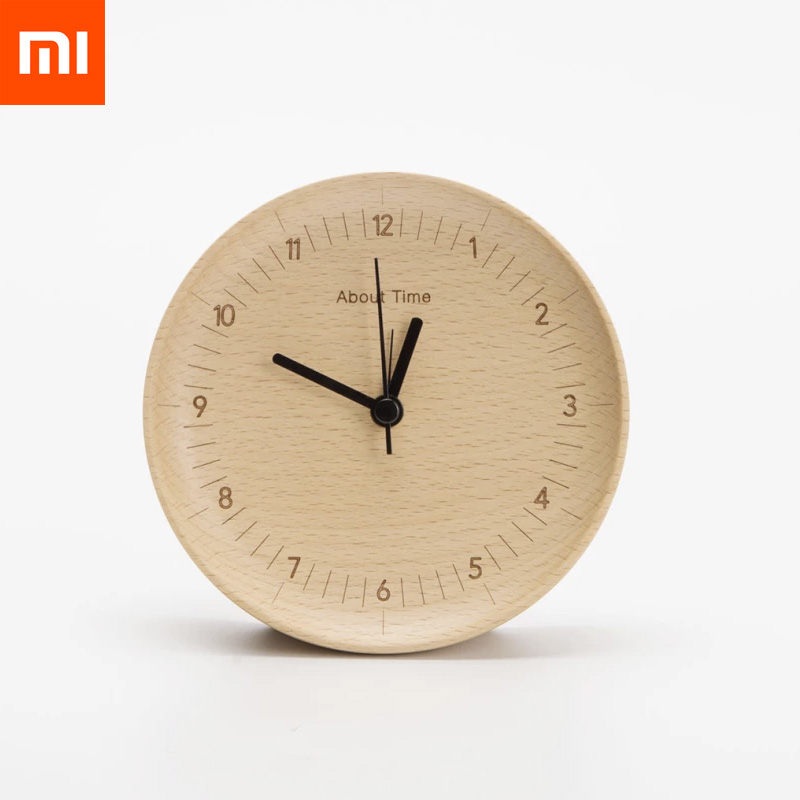 Original Xiaomi Mijia About Time Alarm Clock Beech Wooden Mute Desktop Table Clocks Watch For Xiaomi