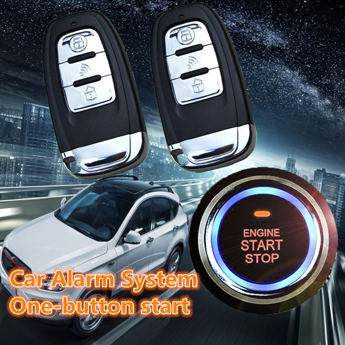 Car Suv Keyless Engine Ignition Power Switch Blue Led: Car Accessories Car SUV Keyless Entry Engine Start Alarm