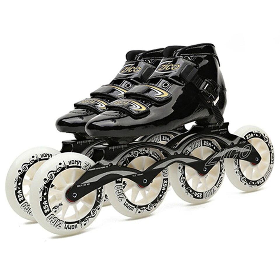 Patins à roues alignées de vitesse fibre de carbone 4*90/100/110mm compétition 4 roues Patines de patinage de rue similaires à Powerslide CityRun