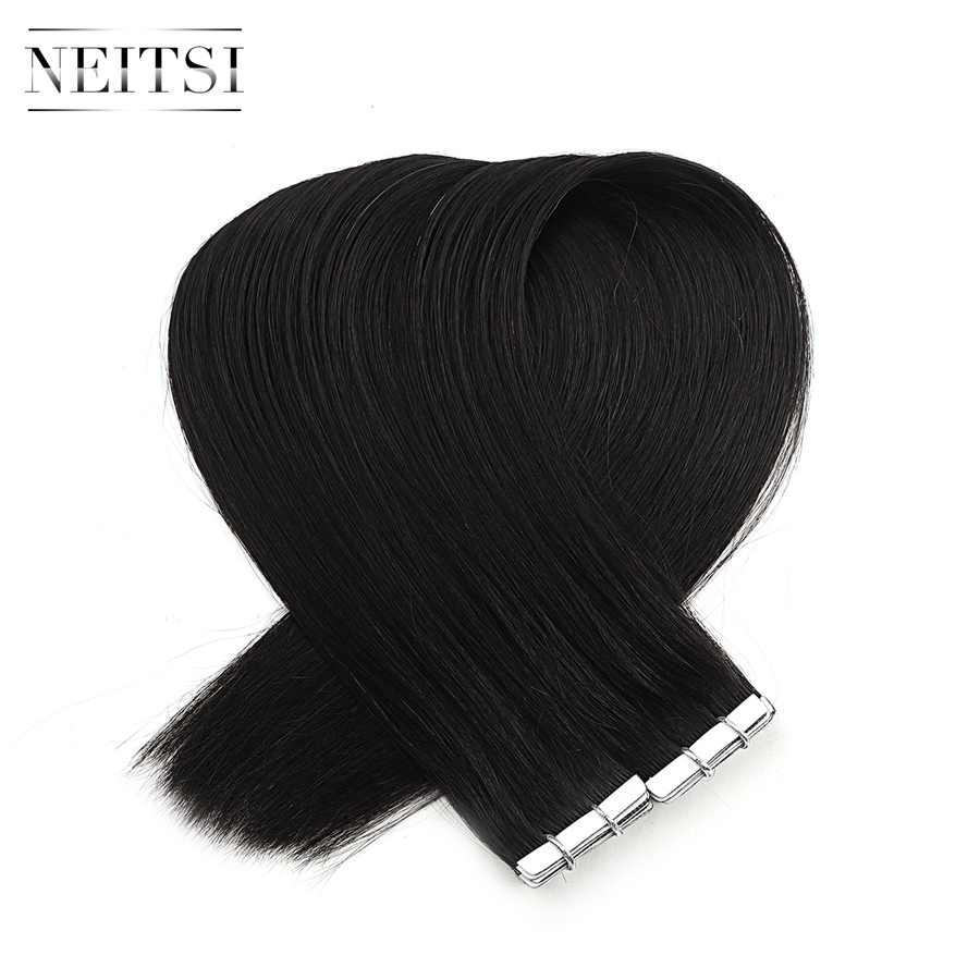 "Neitsi כפול נמשך אהבה קו קלטת רמי שיער טבעי הרחבות Weft עור Invisible שיער ישר 16 ""20"" 24 ""שחור בלונד"