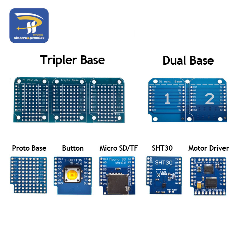 ESP8266 D1 Mini Pro WiFi разработка NodeMcu Lua Кнопка драйвера двигателя Micro SD/TF SHT30 Proto Плата Dual Base для WeMos DIY Kit