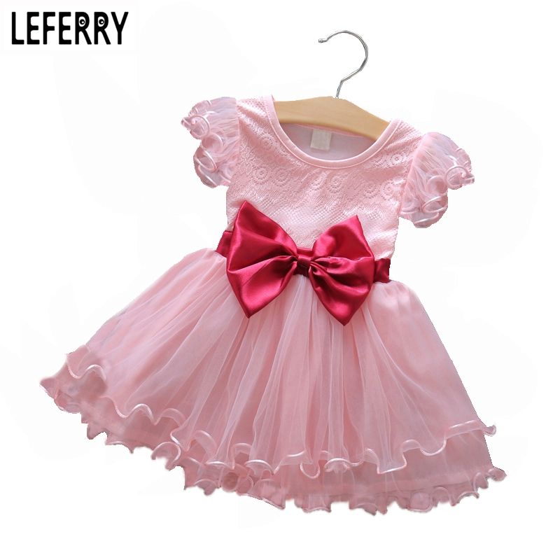 2017 New Summer Baby Girl Dresses Princess Kids Clothes Girls Tulle Chiffon Dress Summer Dress for Toddler Girls Bow Red summer baby kids girls dress princess bow sleeveless print dresses baby girl clothes