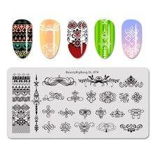 Beautybigbang штамповочная пластина для ногтей кружевная ветвь цветка геометрический трафарет для штамповки ногтей пластины для дизайна ногтей лака штамповочная пластина