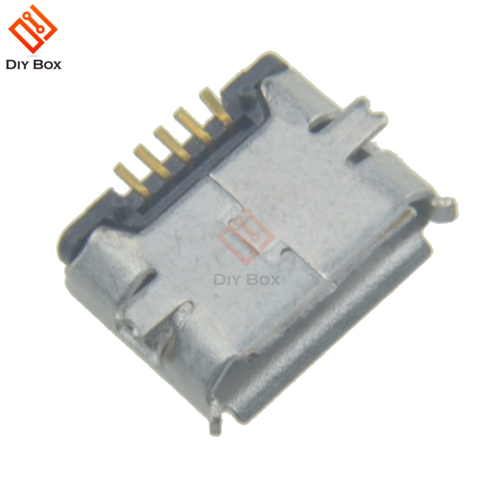 10Pcs <font><b>Micro</b></font> <font><b>USB</b></font> Type B Female 5Pin SMT Socket Jack <font><b>Connectors</b></font> Port <font><b>PCB</b></font> Board image
