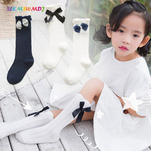SLKMSWMDJ new spring summer solid color thin section loose mouth girls pile socks long tube sweet bow cotton baby mosquito