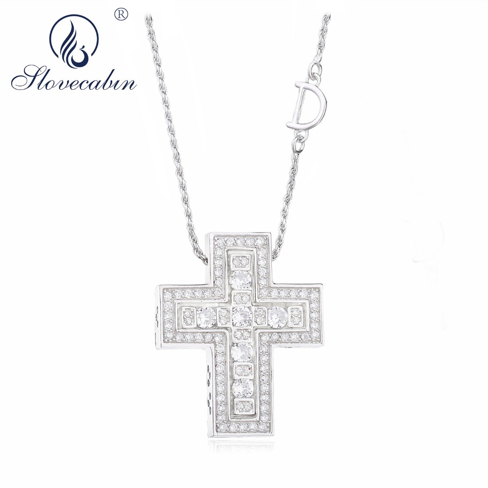 Slovecabin Hole Cross Double D Letter Chain Belle Epoque Zircon  Pendant Necklace Jewelry 100% 925 Sterling Silver Italy LuxulryChain  Necklaces