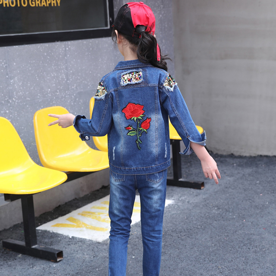 Image 5 - Abesay Autumn Girls Set Rose Sequins Jacket+Jeans Fashion Clothing For Girls Teenage Winter Clothes For Kids 4 6 8 12 13 Years-in Clothing Sets from Mother & Kids