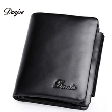 New High Quality Genuine Leather Men Wallet Fashion Large Capacity Men Purses Real Leather Much Credit ID Cards Slots Money Bag