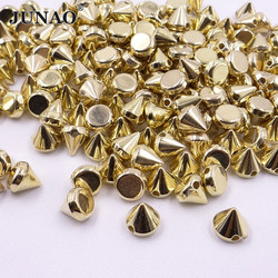 JUNAO 500pcs 8mm Gold Silver Color Studs Spikes Plastic Decorative Rivet Sewing Punk Rivets For Leather Clothes Jewelry Crafts